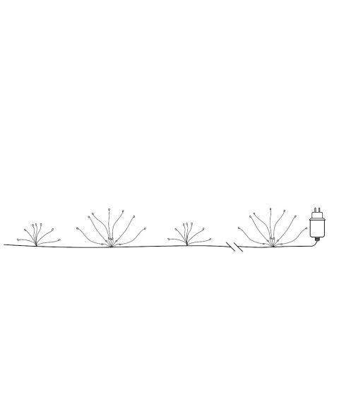 Duggdråper Flower slynge, lengde 360 cm, LED (x120), Sølv, Varmhvitt lys