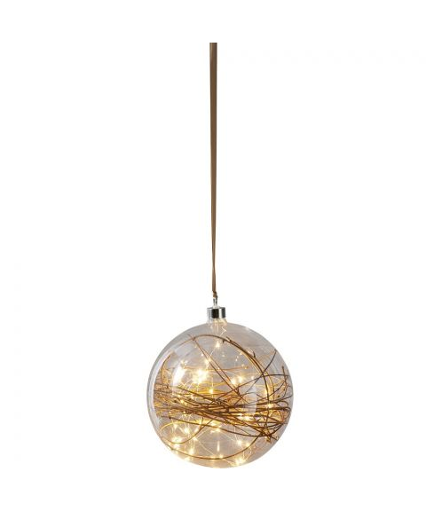 Glow glasskule 20 cm med kvist, ledning og stikk