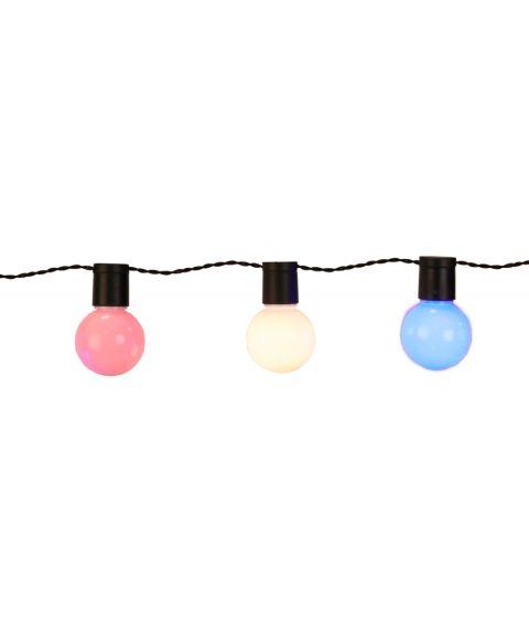 LED Lyslenke, Lyskule (x20), 570 cm, diameter 5 cm, Rosa, Hvit, Blå