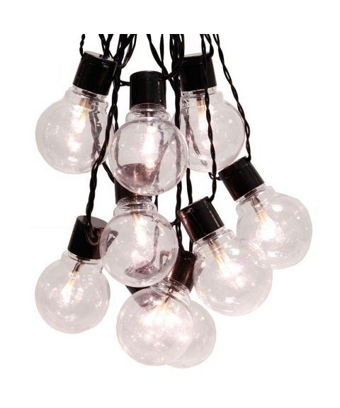 LED lyslenke, Klare pærer (x16), 450 cm sort kabel