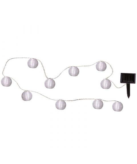 Festival lysslynge, Solcelle, LED, Risballer (x10), diameter 7,5 cm, Hvite