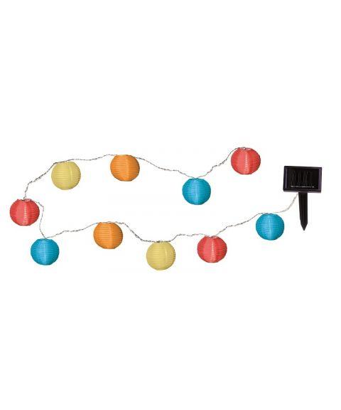 Festival lysslynge, Solcelle, LED, Risballer (x10), diameter 7,5 cm, Farget