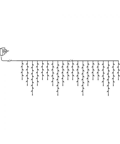 Serie LED (x480) istapp, 11,9x0,55m, Crispy Ice 3000K, Sort kabel