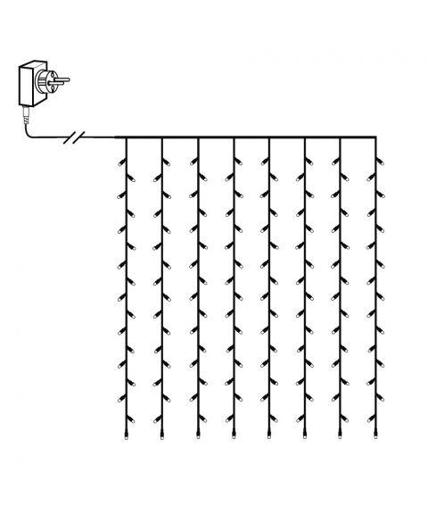 Serie LED (x120) gardin 1,3x2m, Crispy Ice LED 3000K, Sort kabel