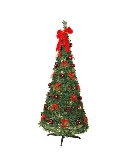 Juletre 180 cm, Dra-opp, med LED (x144), med pynt, Grønn/rød