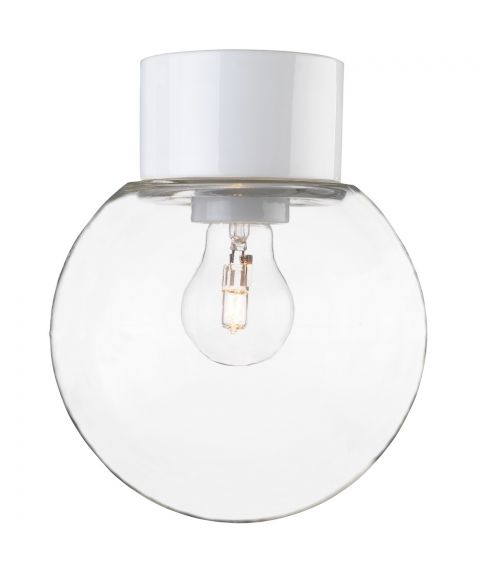 Classic Glob 180 taklampe IP54, Klart glass