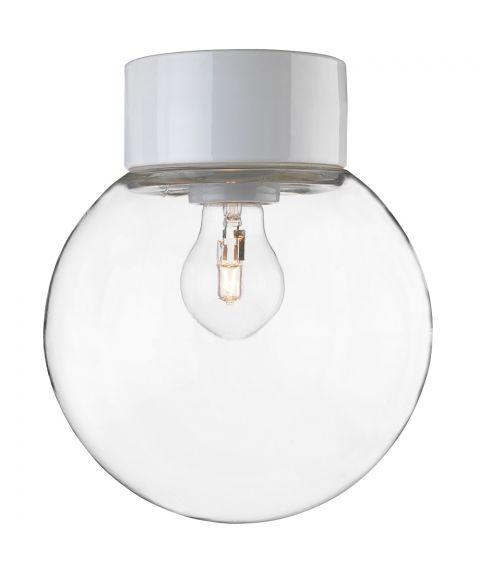 Classic Glob 200 taklampe, E27 IP54, Klart glass