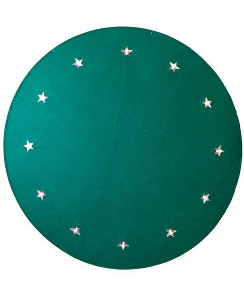 Juletreteppe diameter 100 cm, LED (x12), Grønn