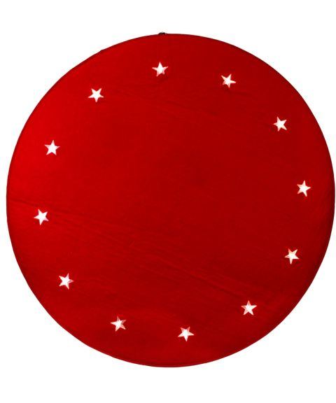 Juletreteppe diameter 100 cm, LED (x12), Rød