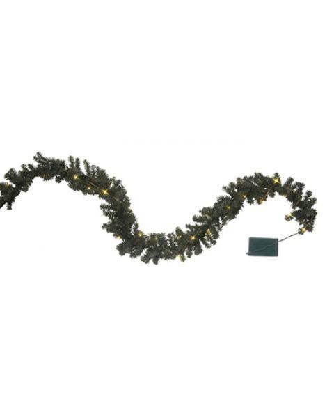 Girlander 250 cm, Canadian, LED (x30), Grønn, for batteri, med timer