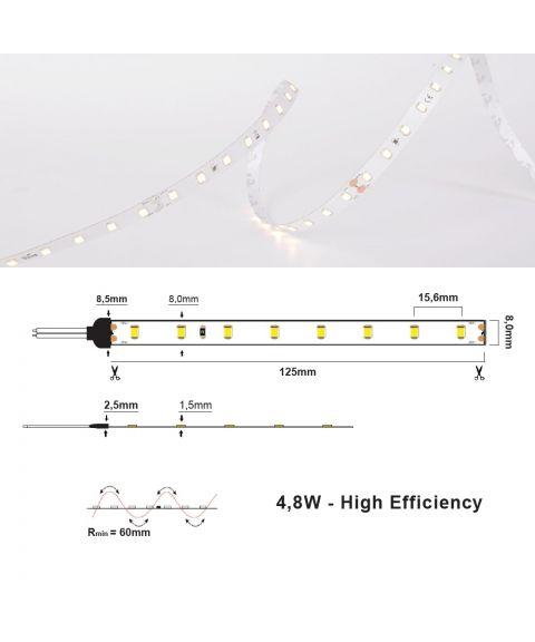 LED Strip 24V IP20 2700K 4,8W/m, 5 meter pakke