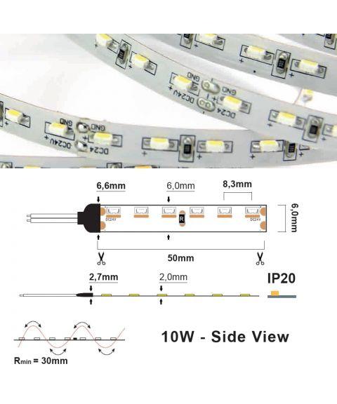 LED Strip 24V IP20 2700K 10W/m SIDE VIEW, 5 meter pakke