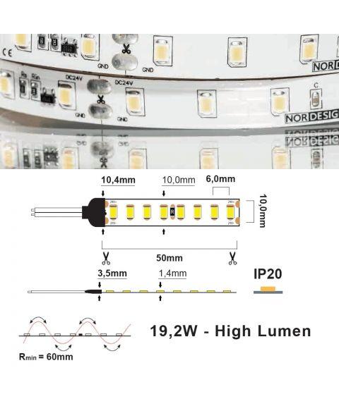LED Strip 24V IP20 3000K 19,2W/m CC CRI>90 2380lm/m, 5 meter pakke