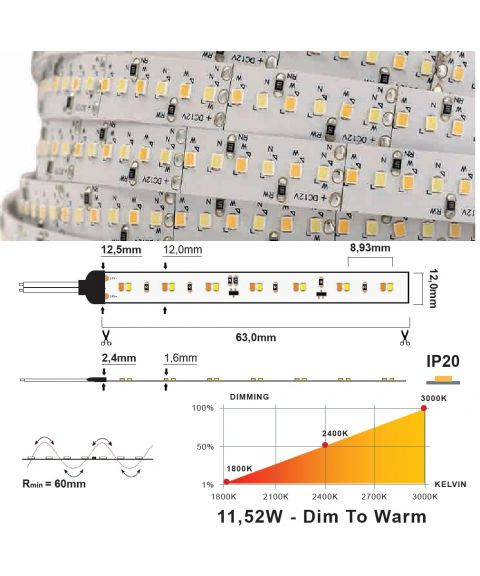 LED Strip 24V IP20 3000K-1800K, 11,5W/m, dim-to-warm, 4 meter pakke