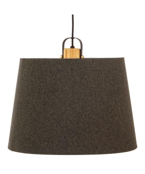 Geilo takpendel med tekstilskjerm, diameter 45 cm, Sort / Grå / Tre