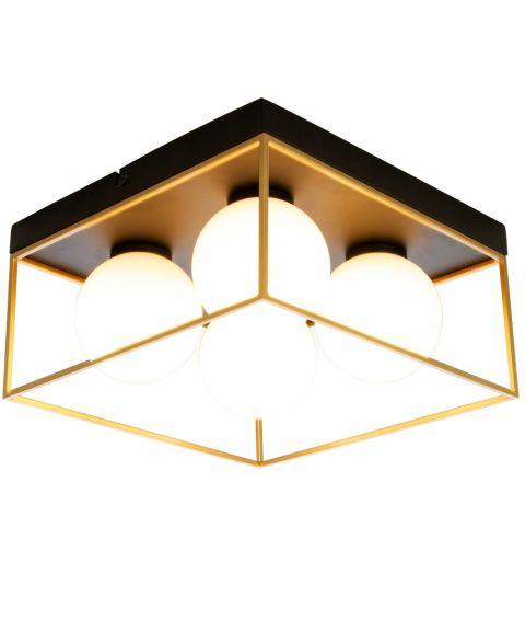 Astro taklampe, 28 x 28 cm, Sort / Gull / Opalhvit