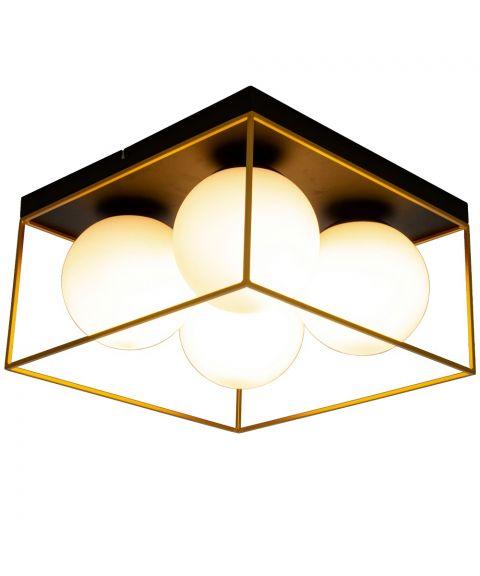 Astro taklampe, 36 x 36 cm, Sort / Gull / Opalhvit