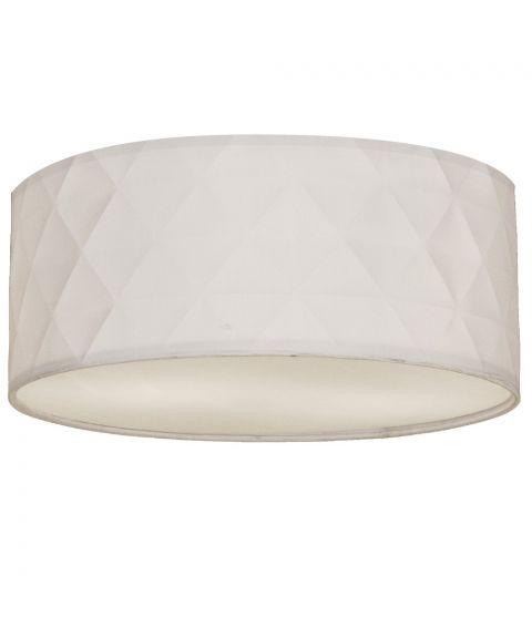 Bendir taklampe med rombemønster, diameter 38 cm, Hvit