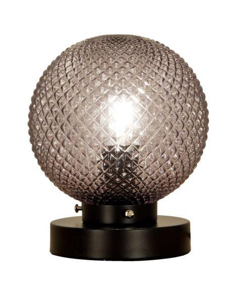Flory bordlampe, høyde 19 cm, Sort / Røykfarget