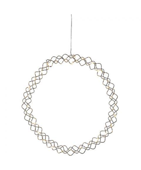 Hoop krans, diameter 30 cm, LED (x30) for batteri, med timer, Krom