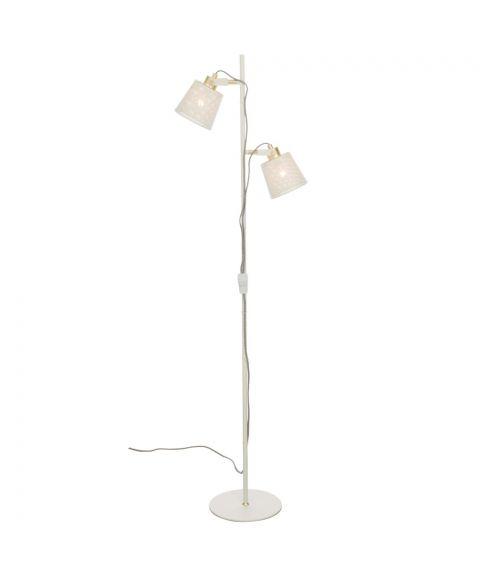 Frapino 2 gulvlampe, høyde 151 cm, Hvit / Matt messing