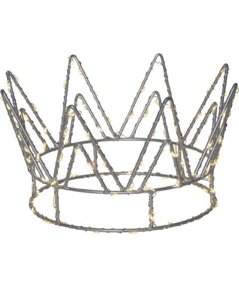 Crown borddekorasjon, 22 cm 120-lys for batteri, sølvfarget