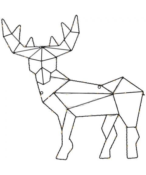 Cupid reinsdyr, veggmontering, for batteri, med timer, høyde 49 cm, Sort, Varmhvitt lys