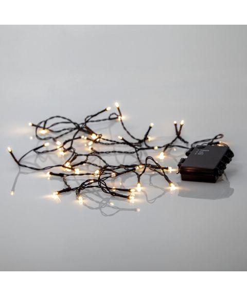 Akku lysslynge, lengde 2,8 meter, LED (x40) for batteri, med timer, utendørs, Varmhvitt lys