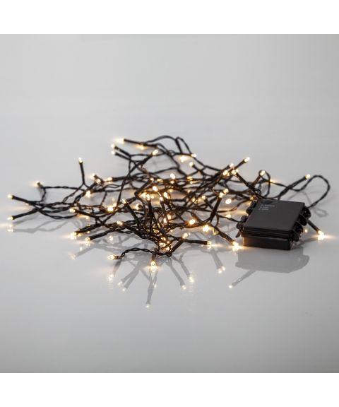 Akku lysslynge, lengde 5,6 meter, LED (x80) for batteri, med timer, utendørs, Varmhvitt lys