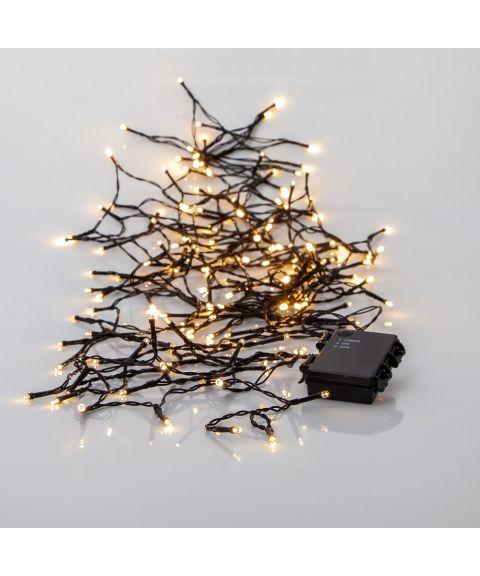 Akku lysslynge, lengde 11,2 meter, LED (x160) for batteri, med timer, utendørs, Varmhvitt lys