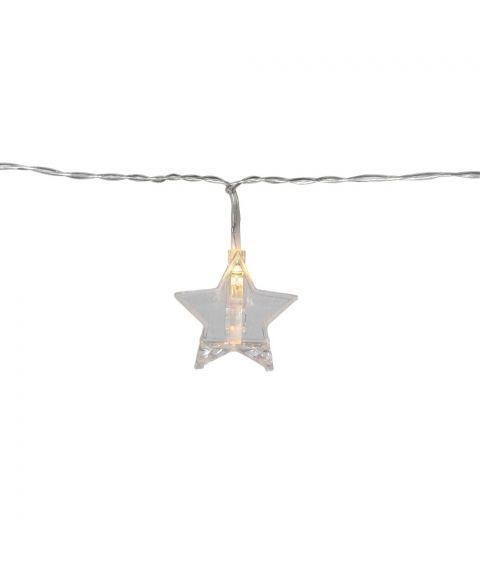 Clippy slynge med stjerner og klyper, lengde 180 cm, LED (x10) or batteri, med timer, Varmhvitt lys