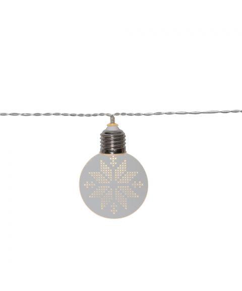 Ornament slynge snøkrystall ,10 lys for batteri, med timer
