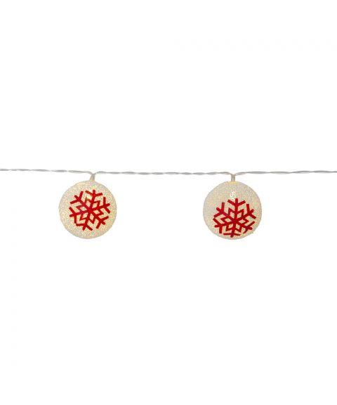Ornament slynge med kuler, Rød snøkrystall, 10 lys for batteri, med timer