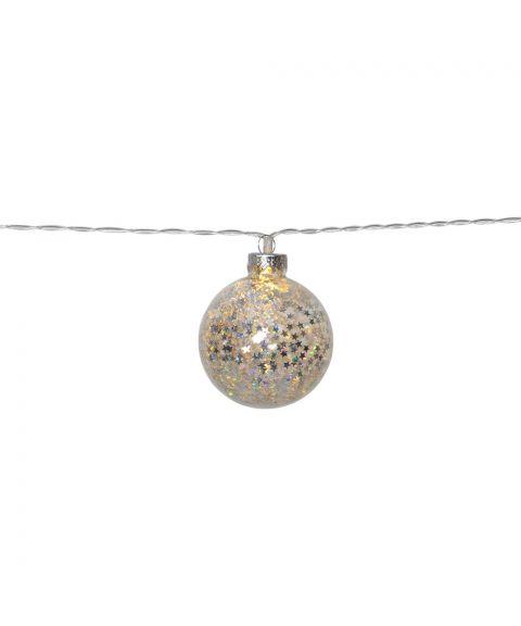 Glitter slynge 130 cm LED (x10) for batteri, med timer, Sølv