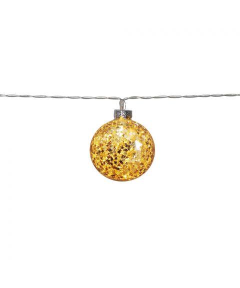 Glitter slynge 130 cm LED (x10) for batteri, med timer, Gull