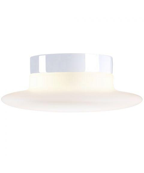 Aton Cairo taklampe med bevegelsessensor IP44, diameter 34 cm, Matt opalhvitt glass/Hvit