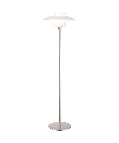 Scandinavia gulvlampe, høyde 146 cm, Krom / Opalhvitt glass
