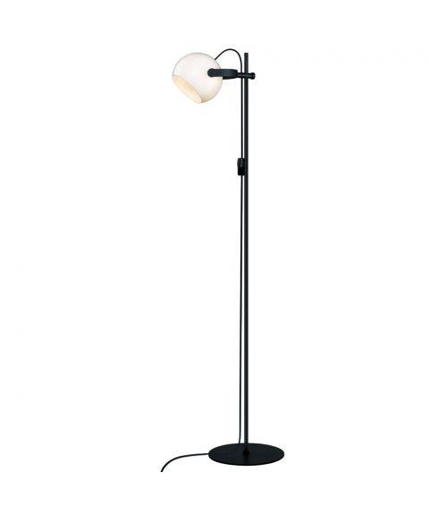 D.C gulvlampe, høyde 150 cm, Sort / Opalhvitt glass
