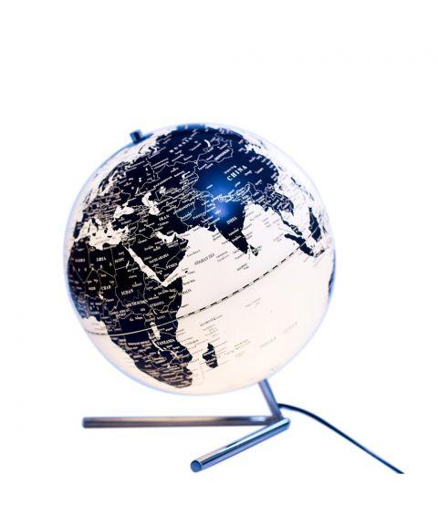 Globe The World bordlampe, diameter 20 cm, Krom med Sort/Hvit globe