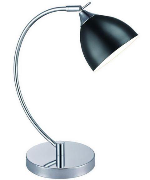 Bellevue bordlampe med ledningsbryter, Krom/Sort (restlager)
