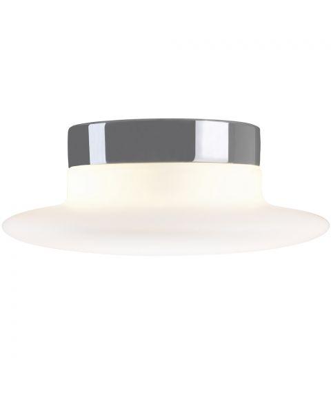 Aton Cairo taklampe IP44, diameter 34 cm, dimbar LED 3000K, Matt opalhvitt glass