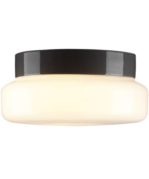 Classic taklampe IP44, diameter 24 cm, dimbar LED 3000K, Blankt opalhvitt glass