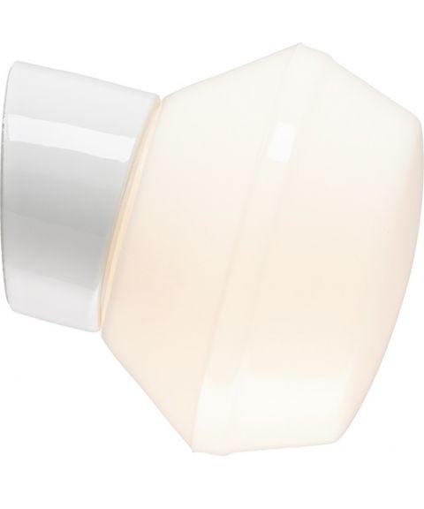 Classic Ifökuppel vegglampe, diameter 17 cm, dimbar LED 3000K, Blankt opalhvitt glass/Hvit