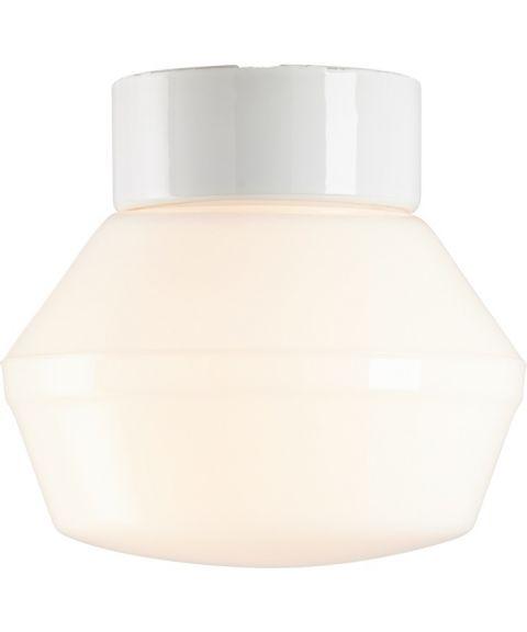 Classic Ifökuppel tak-/vegglampe, diameter 17 cm, Blankt opalhvitt glass/Hvit