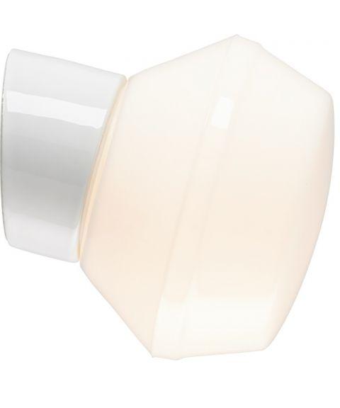Classic Ifökuppel vegglampe, diameter 17 cm, Blankt opalhvitt glass/Hvit