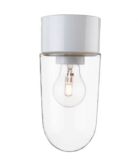Classic Stallglas taklampe IP54, diameter 10 cm, Klart glass