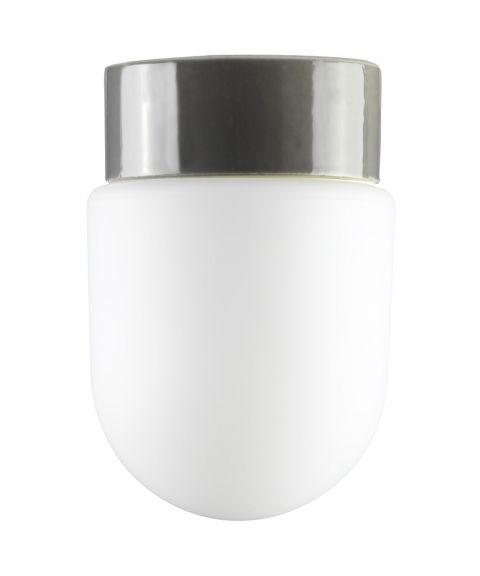 Contrast Fridhem tak-/vegglampe IP54, dimbar LED 3000K, Matt opalhvitt glass/Grå