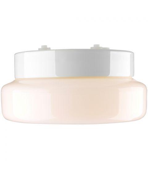 Classic Badstu tak-/vegglampe IP44, diameter 24 cm, Blankt opalhvitt glass