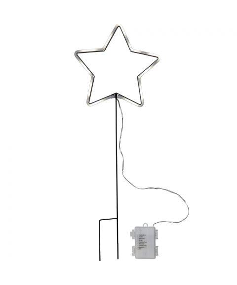 Neonstar Stjerne utendørs dekorasjon, for batteri, med timer og chaser-funksjon