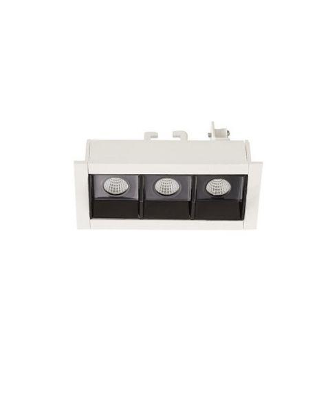 Bento 3 lineær downlight, lengde 9,4 cm, Hvit/Sort innside